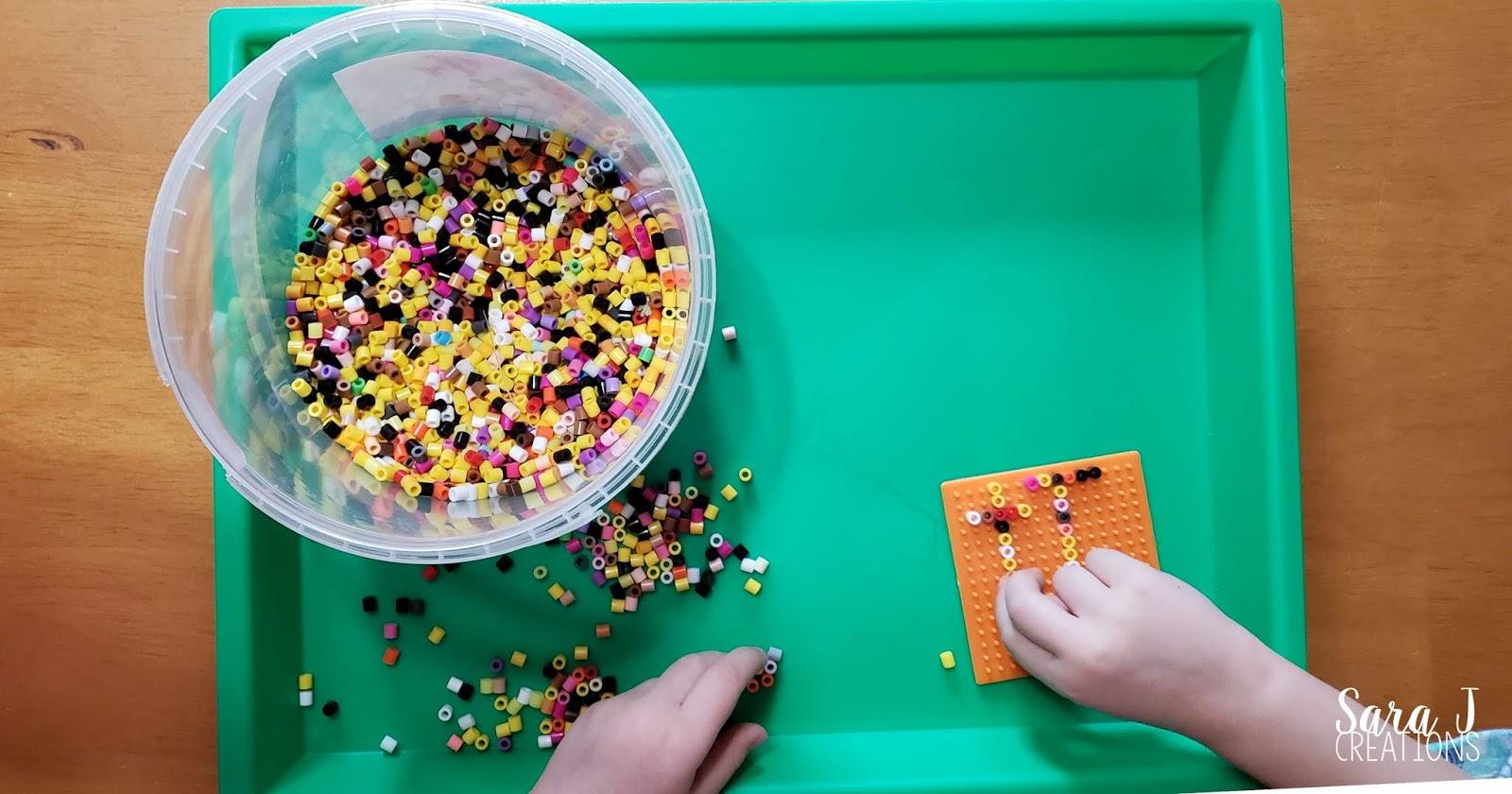 Letter T fine motor practice perler beads