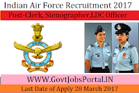 Indian Air Force Recruitment 2017 – 232 Stenographer, Clerk Posts