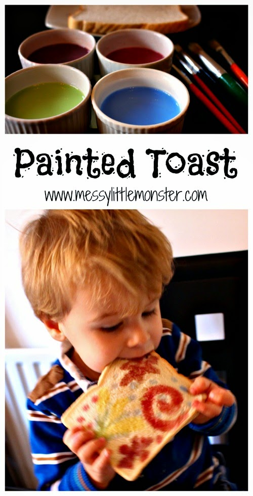 Use this simple edible paint recipe to paint on bread.  Painted firework toast is a fun way for kids to celebrate new year or bonfire night. A fun painting technique for toddlers, preschoolers, eyfs,