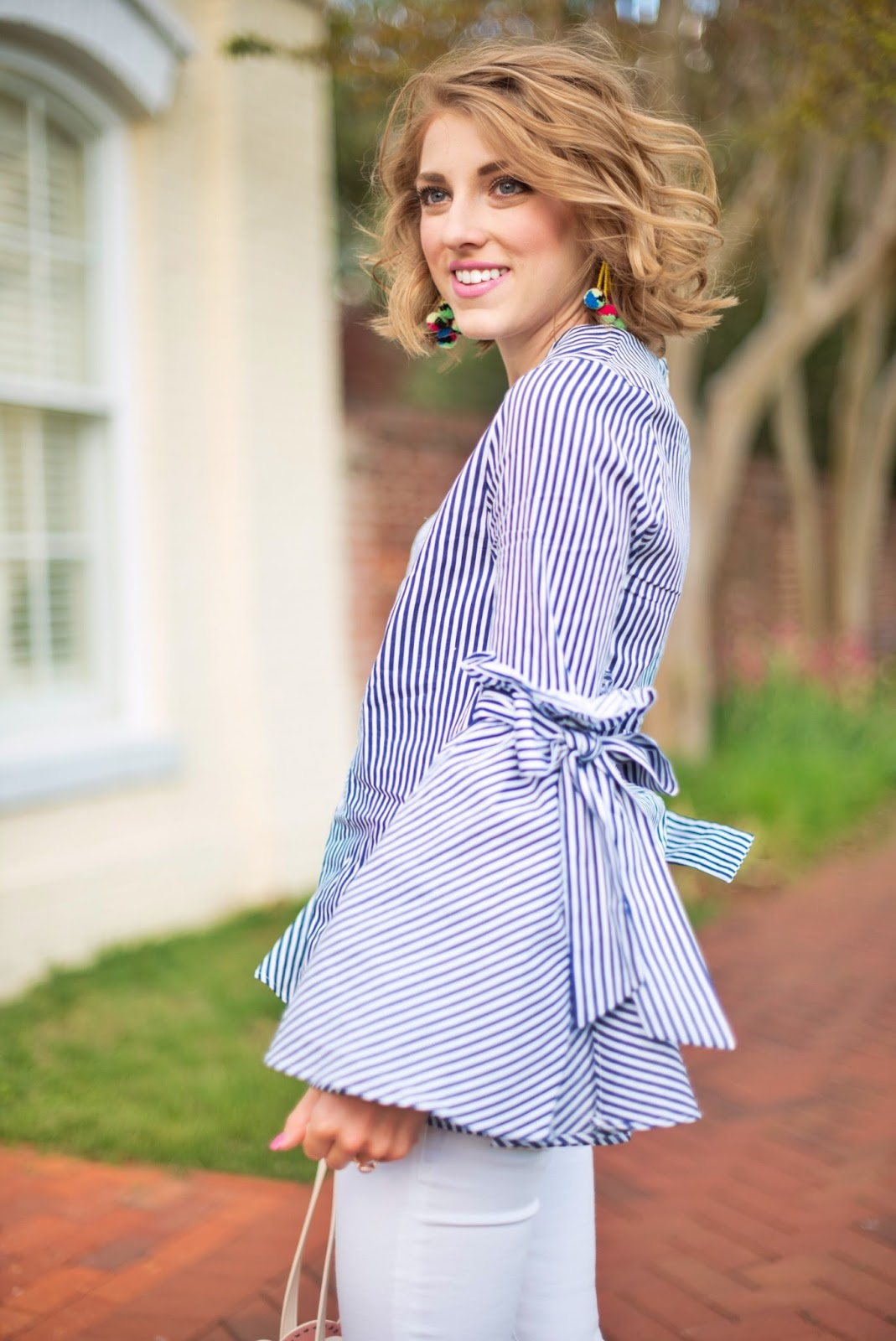 Blue & white with bell sleeves - See more on Something Delightful Blog