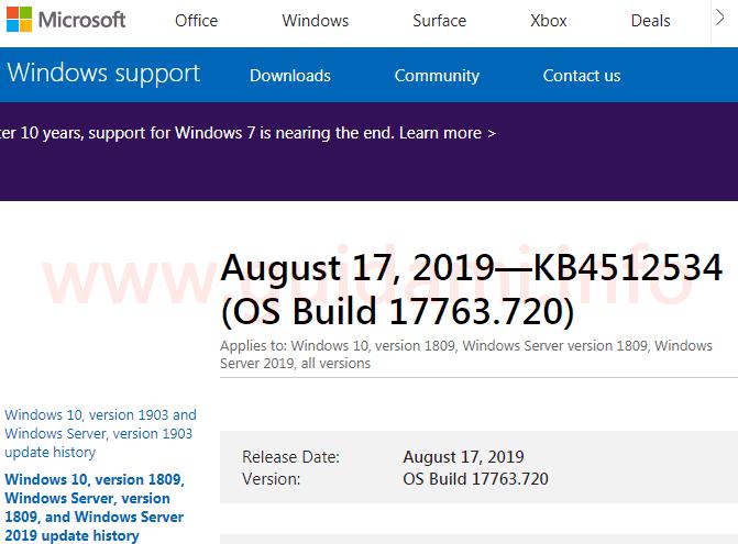Microsoft support pagina web dell'aggiornamento cumulativo KB4512534