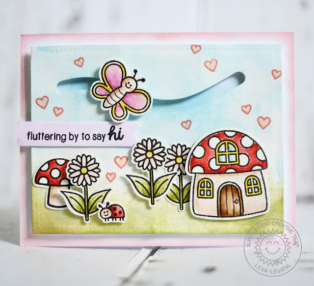 Sunny Studio Stamps: Backyard Bugs Fluttering By To Say Hi Butterfly slider card by Lexa Levana.