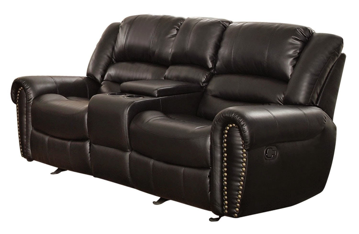 double reclining leather sofa cheap small sectional the best reviews rotunda black faux