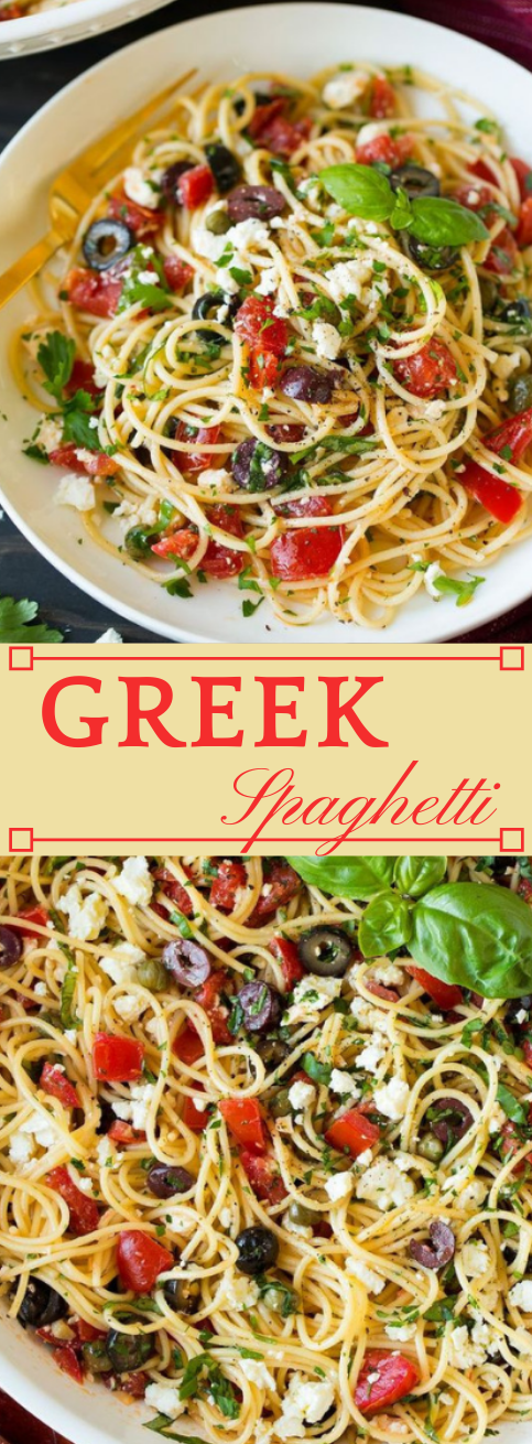 Garlicky Greek Spaghetti Toss #garlic #dinner #healthylunch #spaghetti #easy