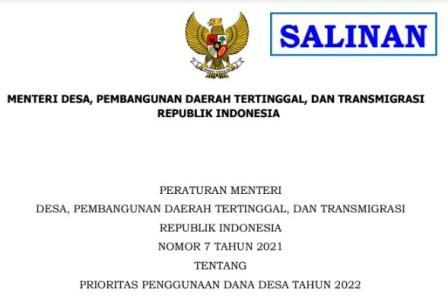 Permendes Nomor 7 Tahun 2021