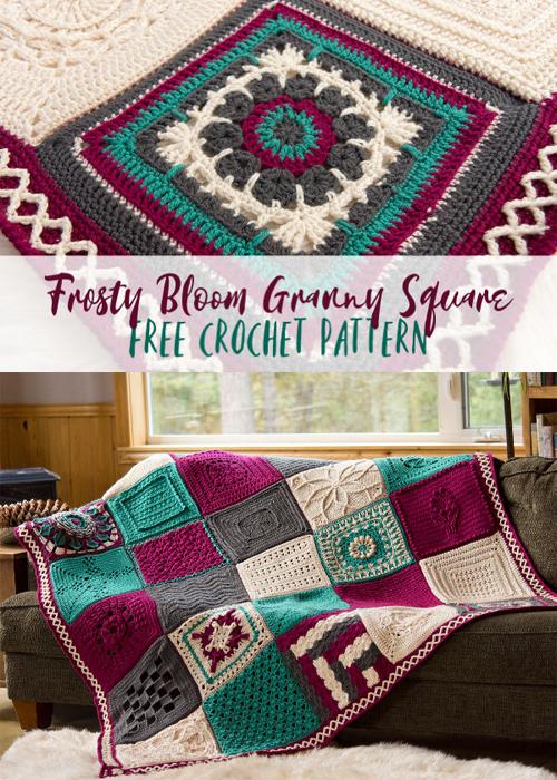 Frosty Bloom Granny Square - Free Crochet Pattern
