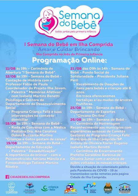 Palestras, rodas de conversa e muita informação integram a programação on line da I Semana do Bebê da Ilha Comprida