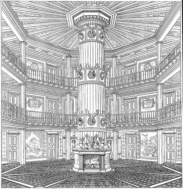 a massive fireplace 1700s? an illustration