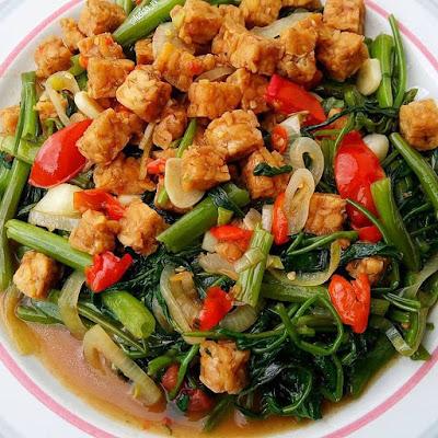 Resep Sayuran - Cah Kangkung Tempe