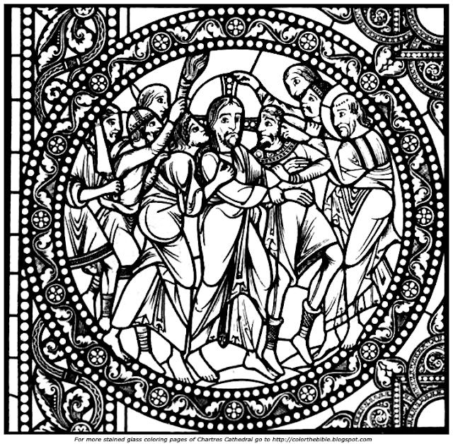 Color The Bible: Arresting Jesus at Gethsemane Window at ...