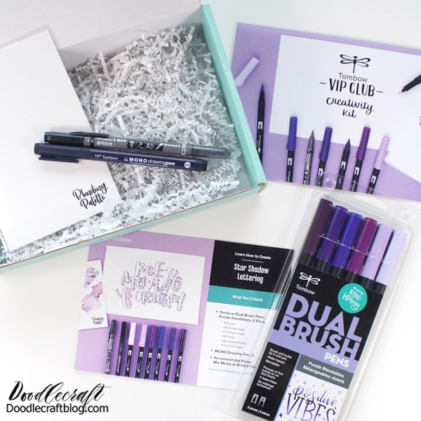 The Creativity Kit contains: Dual Brush Pens in Purple Blendables  MONO Drawing Pen 03  Tombow Calligraphy Pen  Blending Palette  Star Shadow Lettering Instructions
