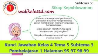 Kunci Jawaban Kelas 4 Tema 5 Halaman 95 97 98 99