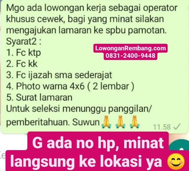 Lowongan Kerja Operator Pom Bensin SPBU Pamotan Rembang