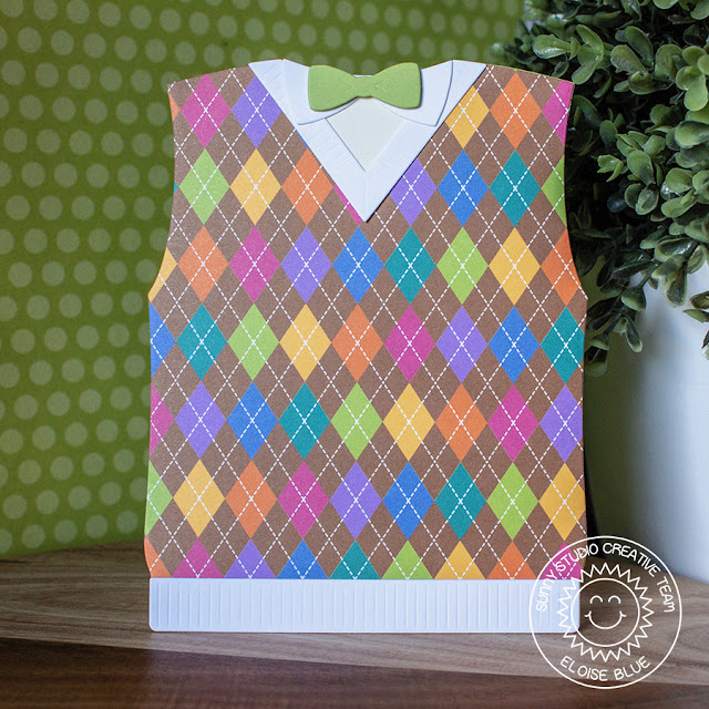 Sunny Studio Stamps: Sweater Vest Dies Preppy Prints Paper Sweater Vest Cards by Eloise Blue