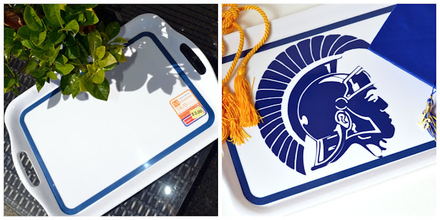 Using a high school mascot cut out of vinyl to create a custom tray for a graduation party