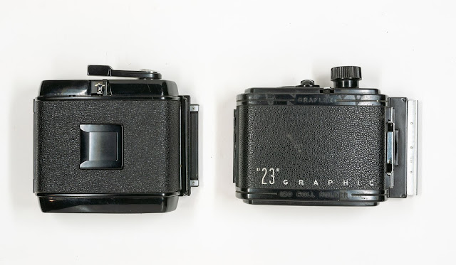 Back to Back the RB67 120 Film Back (left) and the Graphic 23 Film Back (right)