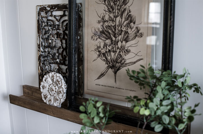Shelf with botanical print