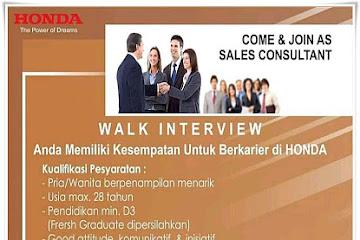 Lowongan Kerja Sales Consultant Honda Soekarno Hatta Bandung