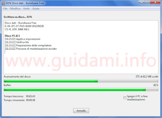 BurnAware Free 10 finestra masterizzazione avviata
