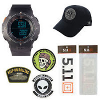 5.11 Kits Military Tactical Field Ops Watch, Style 59245, Hat Patches Decals Set