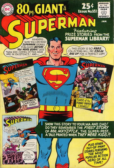Episode #391 Part III: Superman Comic Book Cover Dated January 1966: Superman #183!