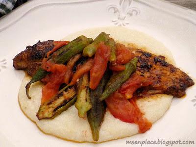 Roasted Okra & Tomato Topped Blackened Catfish