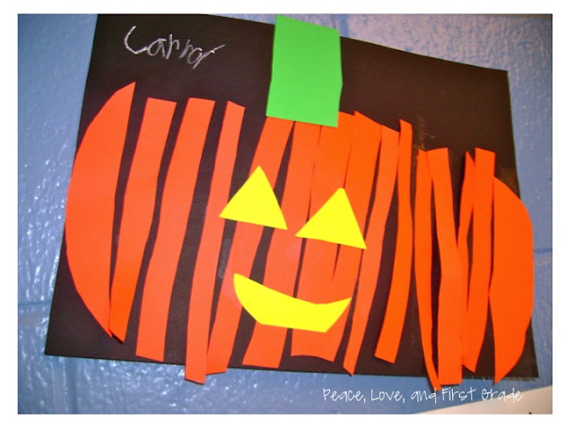 Paper strip jack-o-lanterns -love these fall crafts!