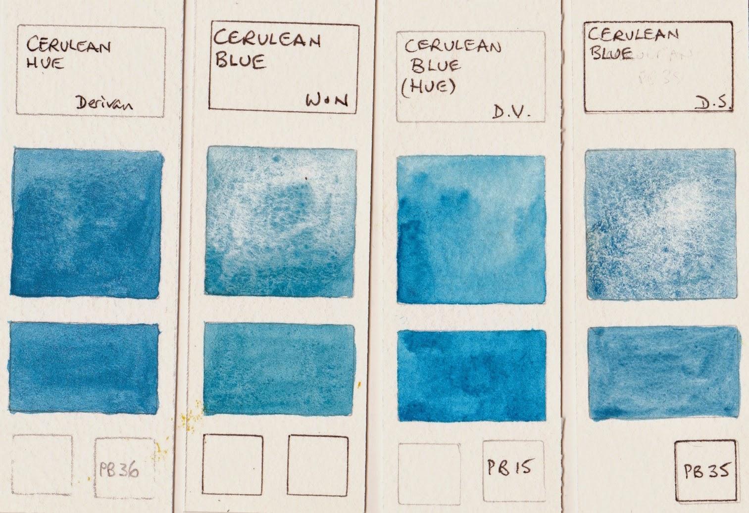 Jane Blundell Artist: Watercolour Comparisons 8 - Blues