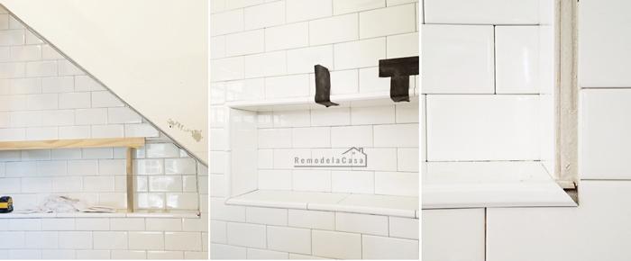 white bathroom - subway tile install