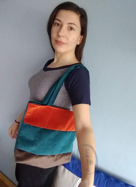 materiałowa torba handmade w barwach Ziemi - Adzik tworzy
