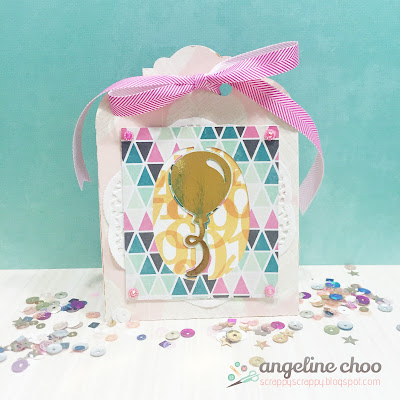 SVG Attic: Party gift bag with Angeline #svgattic #scrappyscrappy #svg #cutfile #diecut #party #birthday #giftbag #balloon