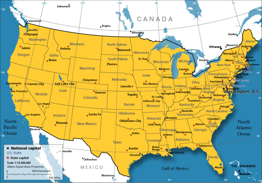 Estados Unidos da América | Mapas Geográficos dos Estados Unidos da América