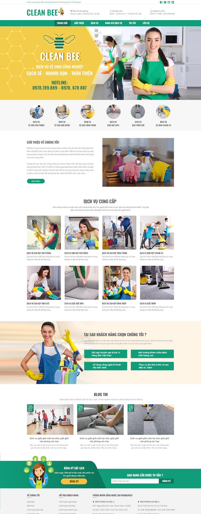 Mẫu website dịch vụ vệ sinh 2020