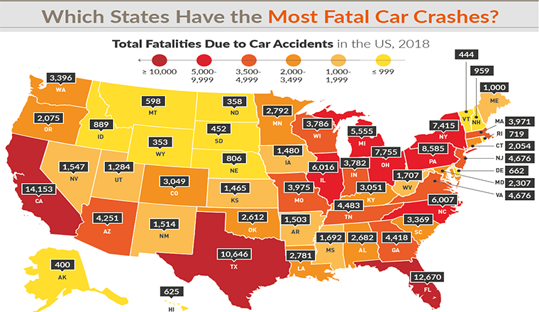 Which States Have the Most Fatal Car Crashes? #infographic