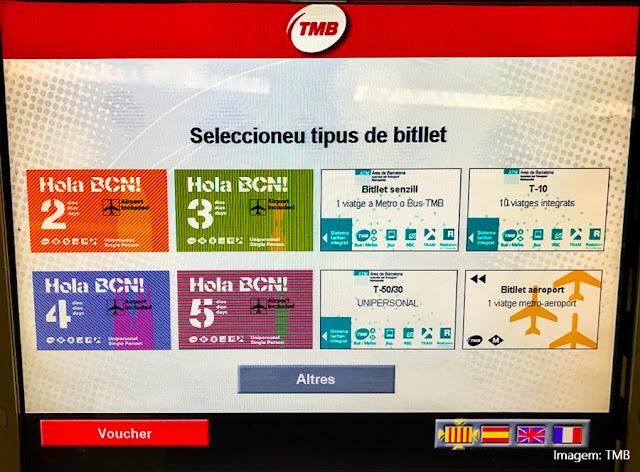 Modalidades de bilhetes do metrô e transporte público de Barcelona