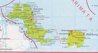 Peta Propinsi Kepulauan Bangka Belitung