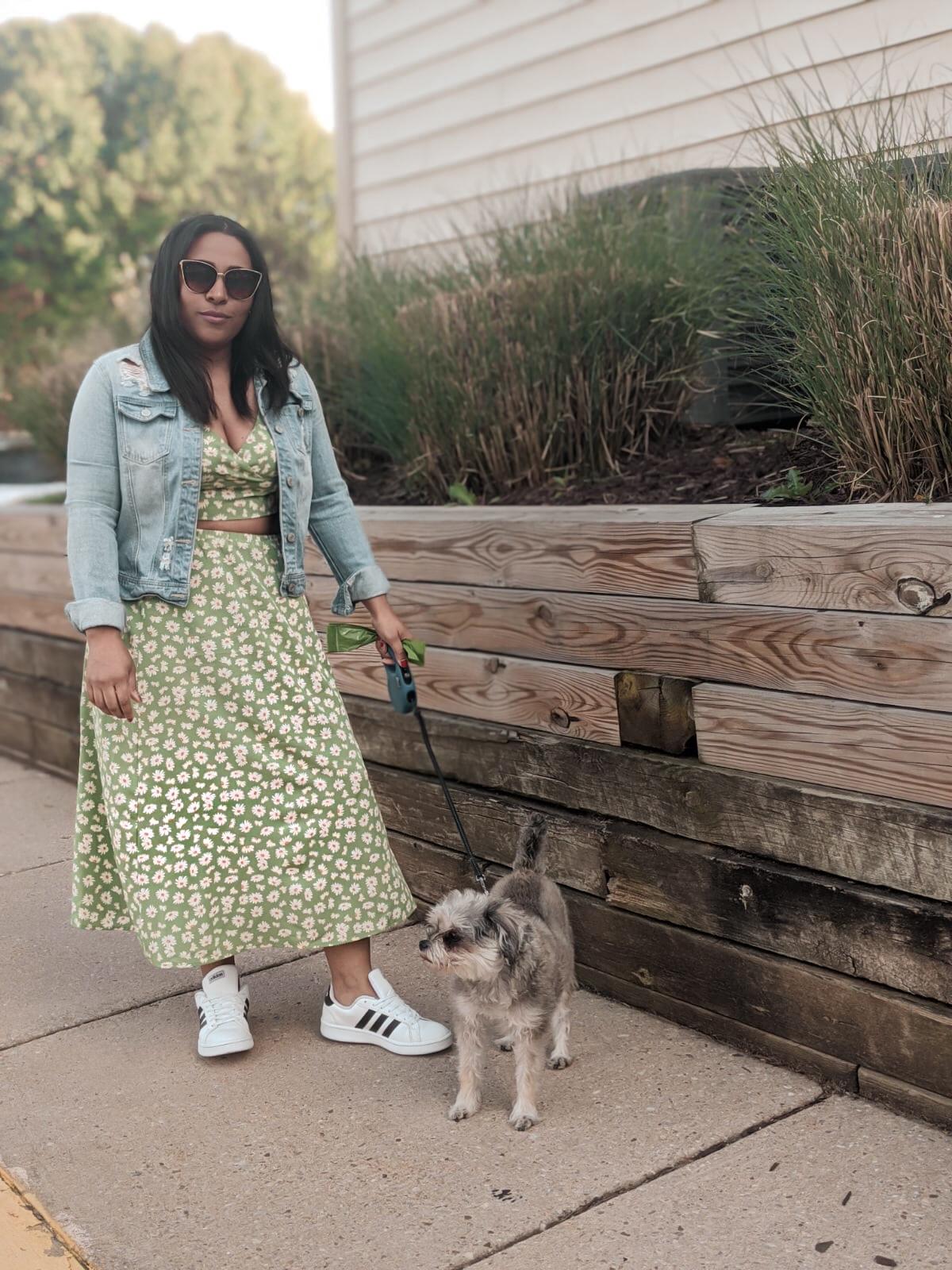walking your dog fashion, quarintine fashion, spring outfits, pattys kloset, shein, shein reviews, two piece set