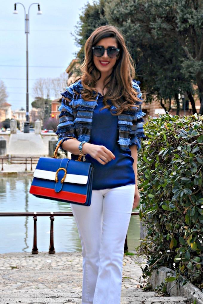 giacchino di paillettes e frange blu e azzurro