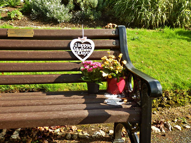 Memorial seat or bench with flowers in Victoria Park, Truro, Cornwall