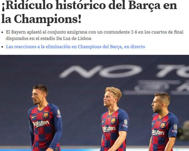 """Barcelona thảm bại 2-8: Báo Tây Ban Nha chê cười """"nỗi nhục chưa từng có"""""""