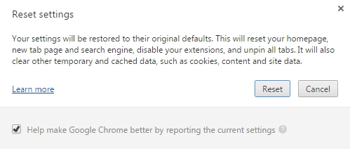 Reset your Google Chrome Browser