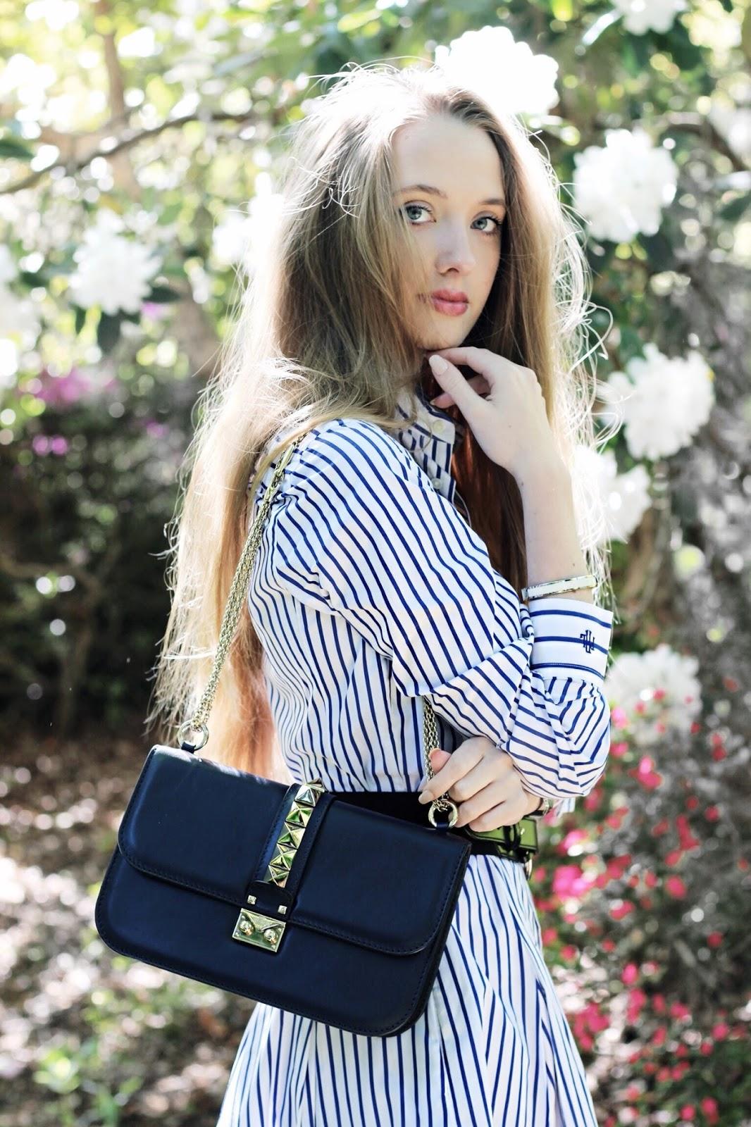 Navy Blue Valentino Lock Stud Medium Bag