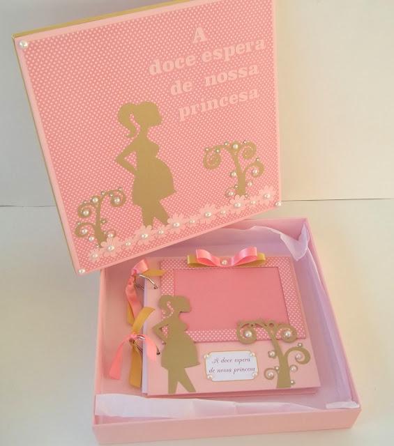 álbum gestante  , gestação ,rosa, é uma menina, presente criativo gravida