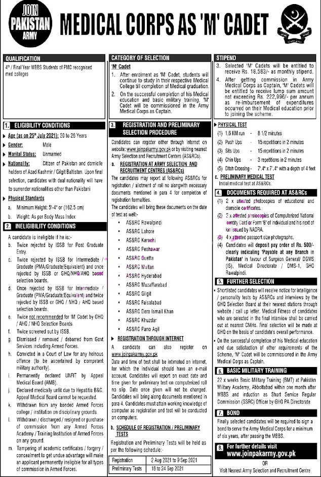 Join Pak Army Medical Corps as M Cadet Latest Jobs 2021 – Registration Online
