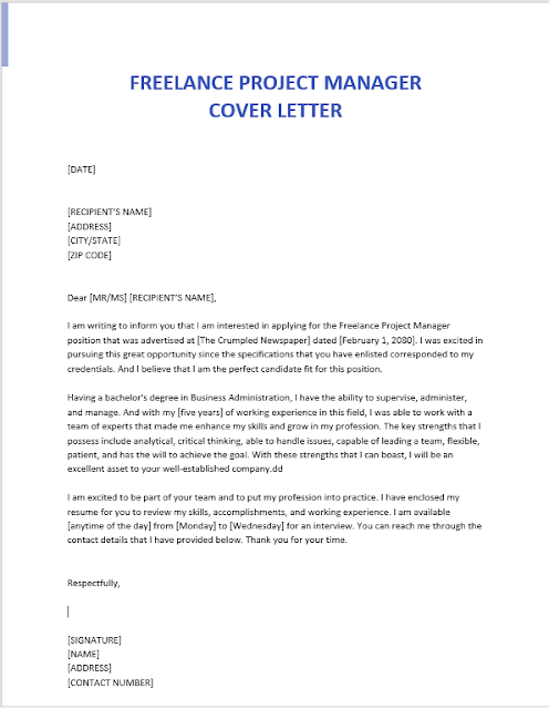 Freelance Project Manager Cover Letter Template A4