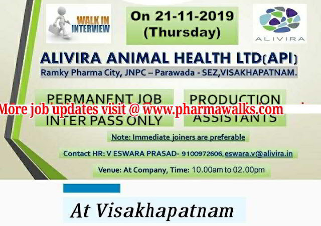 Alivira Animal health care walk-in interview for Freshers - Production on 21st Nov' 2019