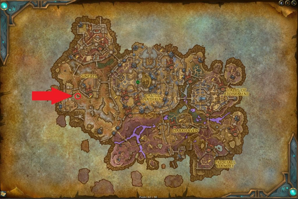 WoW Guide: Save Laurent in the glowing district  Map