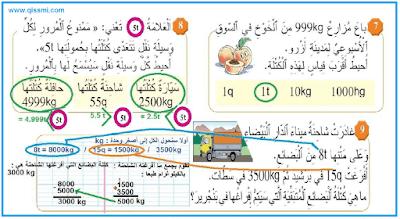 قياس الكتل الكيلوغرام و مضاعفاته للسنة الثالثة ابتدائي