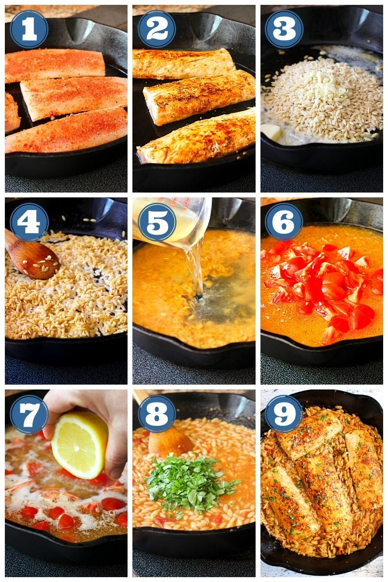 Collage of step-by-step images of Mahi Mahi and Tomato Basil Orzo being made.