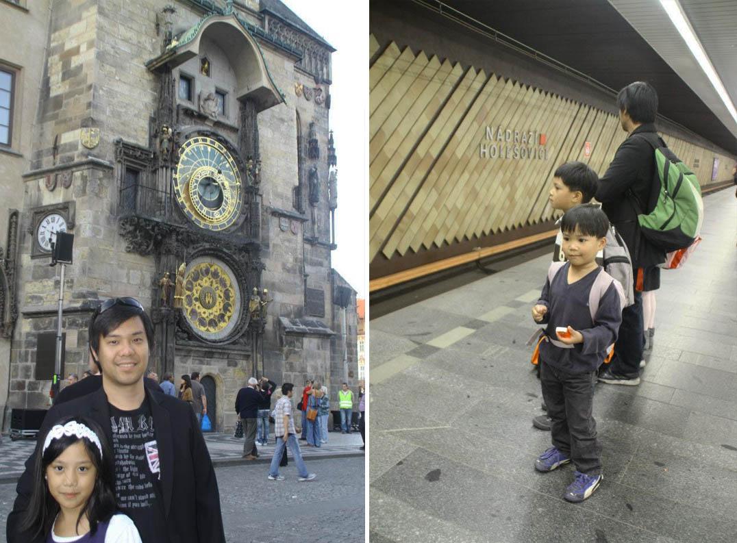 daughter and dad, orloj, kids train station prague, reasons to visit Prague